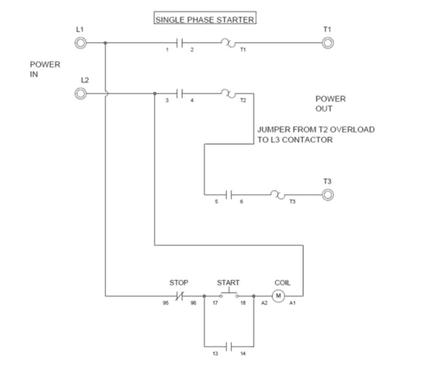wiring a single phase motor through a 3 phase contactor how and why rh springercontrols com 3 phase dol starter wiring diagram pdf 3 phase electric motor starter wiring diagram